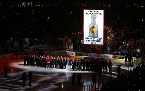 Oct 7, 2015; Chicago, IL, USA; Members of the Chicago Blackhawks and team executives pose for a photo during the 2015 Stanley Cup championship banner raising ceremony before the game against the New York Rangers at United Center. Mandatory Credit: Jerry Lai-USA TODAY Sports ORG XMIT: USATSI-227820 ORIG FILE ID:  20151007_jel_sl8_035.jpg