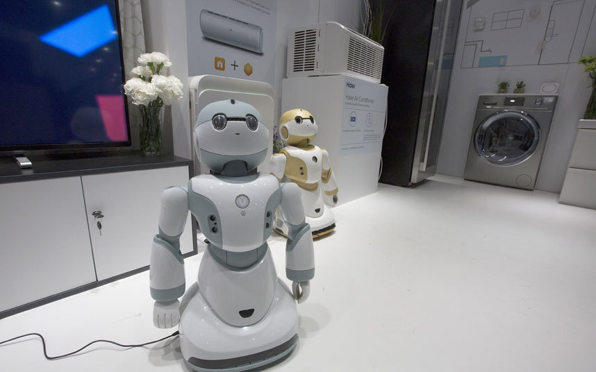 Haier Ubot household robot is a very special robot, being able to communicate with Haier Ubot washing machines and fridges. Other features include home intruder and gas leak detections and games and stories to keep kids occupied.