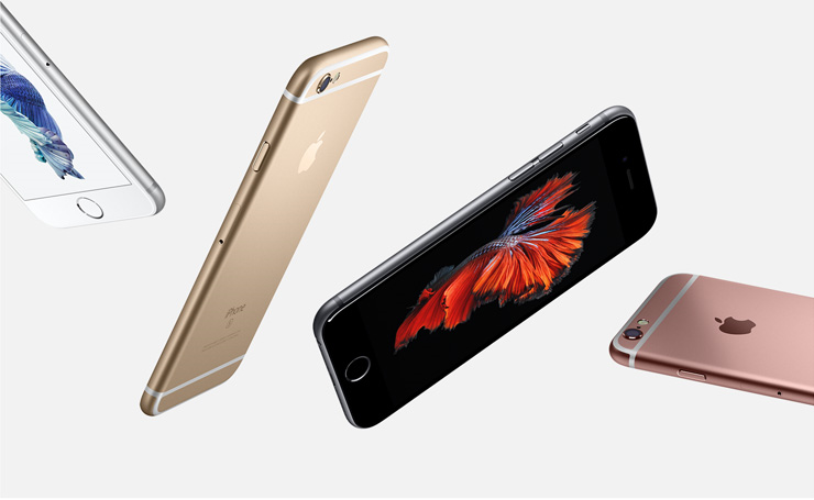 New iPhone 6s shows off the available colors of silver, gold, space gray, and rose gold.