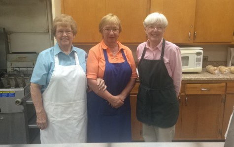 (From left to right) Mrs. Sanders, Mrs. Hutchenson, and Mrs. Knott in their kitchen