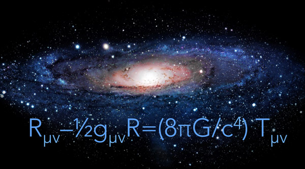 Einstein's general theory of relativity is shown in a equation meaning the curvature of space-time equals the distribution of matter plus energy.