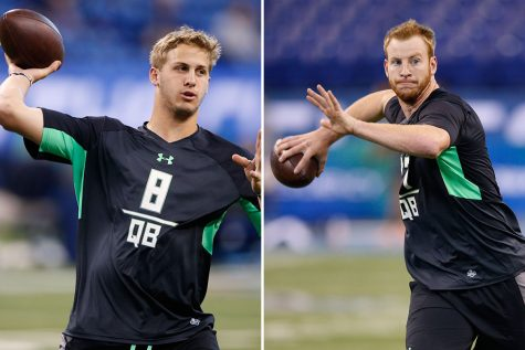 Goff (left) and Wentz (right) are likely in a battle to go first.
