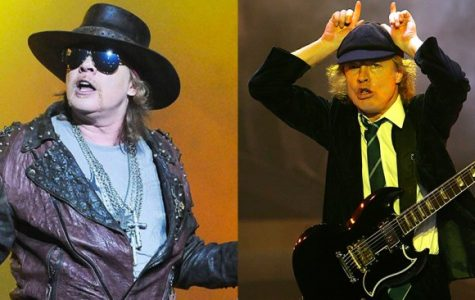 Axl Rose (left) the newest edition of ACDC. Angus Young (right) lead guitarist of ACDC.