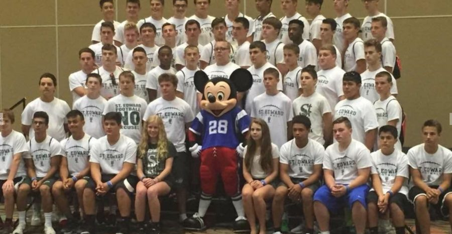 JV and Varsity football with Mickey Mouse