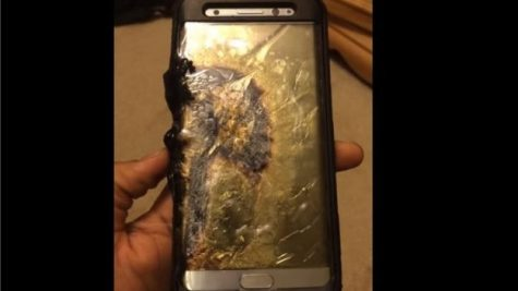 A Galaxy Note 7 that reportedly caught fire after its charger was unplugged.