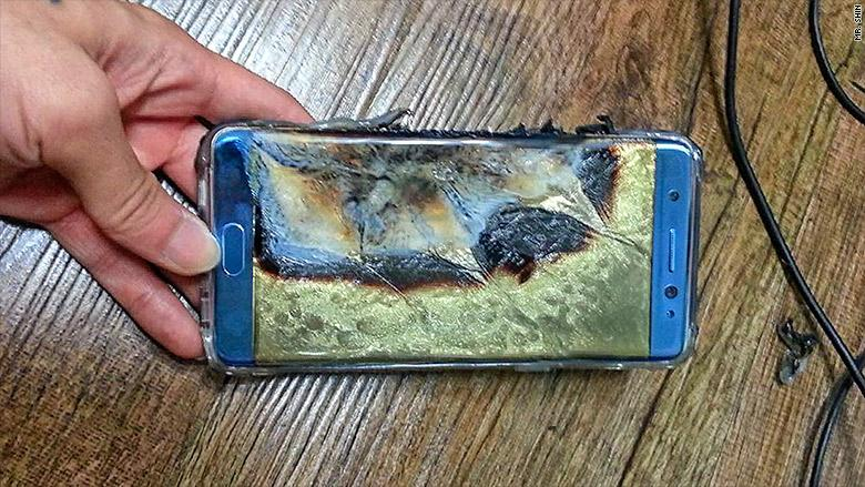 A Galaxy Note 7 that had exploded while charging overnight.