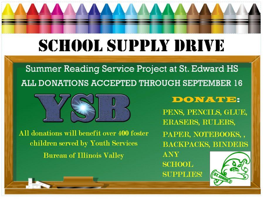 Information on the school supply drive.
