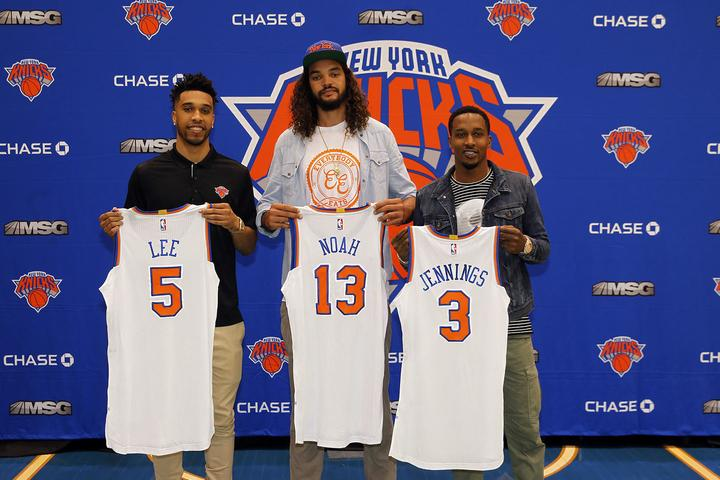 Courtney Lee (left), Joakim Noah (middle), and Brandon Jennings (right) are three key signings that the Knicks made in an effort to loft them into title contention.