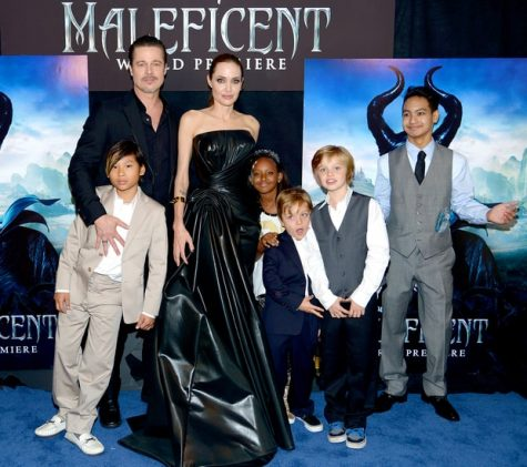 Brad Pitt, Angelina Jolie, and their children at the premiere of Maleficent
