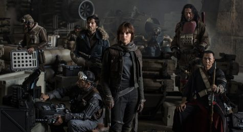 An early promotional poster of the cast of 'Rogue One'