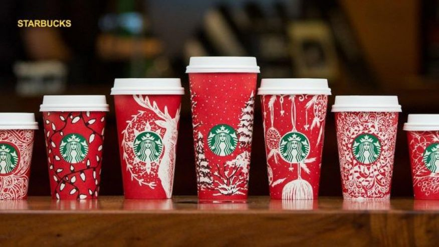 Seven of the thirteen holiday cup designs.