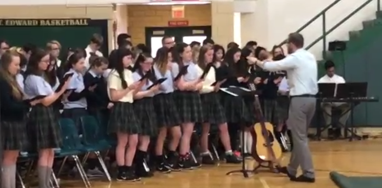 St. Edward choir singing at all school mass on December 8, 2016.