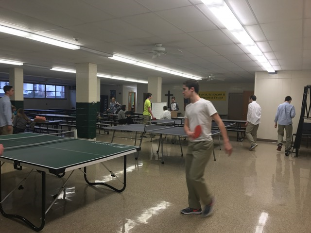 Ping Pong practice in the cafeteria.