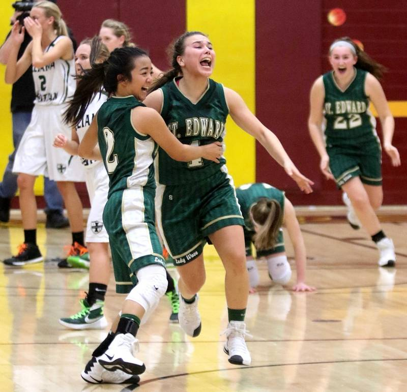 St. Edward's Lady Wave celebrating their win seconds after the final buzzer rang out.