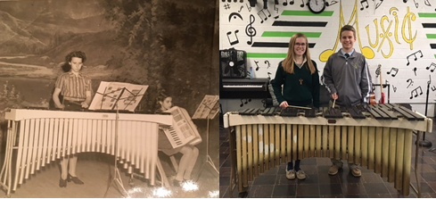 (left) Marge Masters playing the marimba in 1939, at age fourteen.  (right) Masters' grandchildren, Anna and Bill Skog, with the marimba at St. Edward High School.