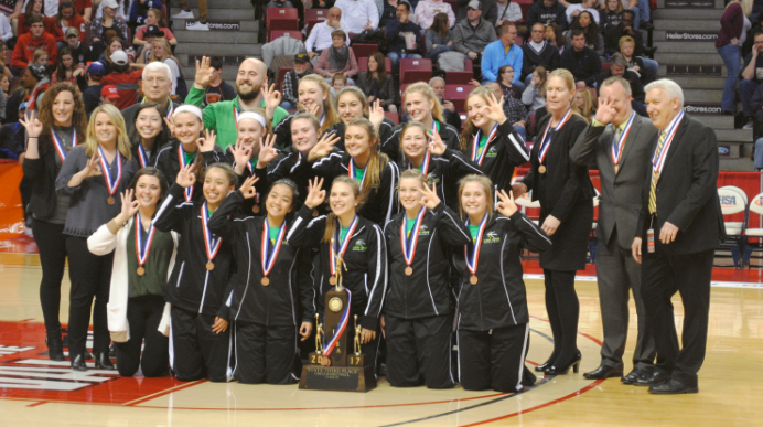 Lady Wave basketball team poses with their trophy after taking third place in State against Central-Southeastern.