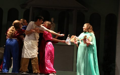 St. Edward's student cast of two years ago performing a play by Don Zolidis.