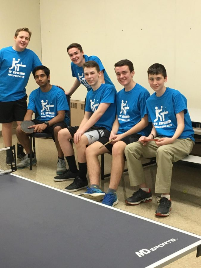 Members of the Ping Pong team before their match against Marian Central Catholic