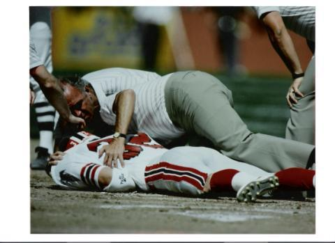 Former NFL player Tim Tyrell knocked himself out and a 49ers player at Candlestick Park.