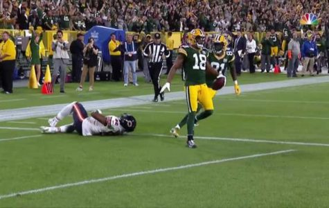 Randall Cobb celebrates in the endzone after catching the game winning TD