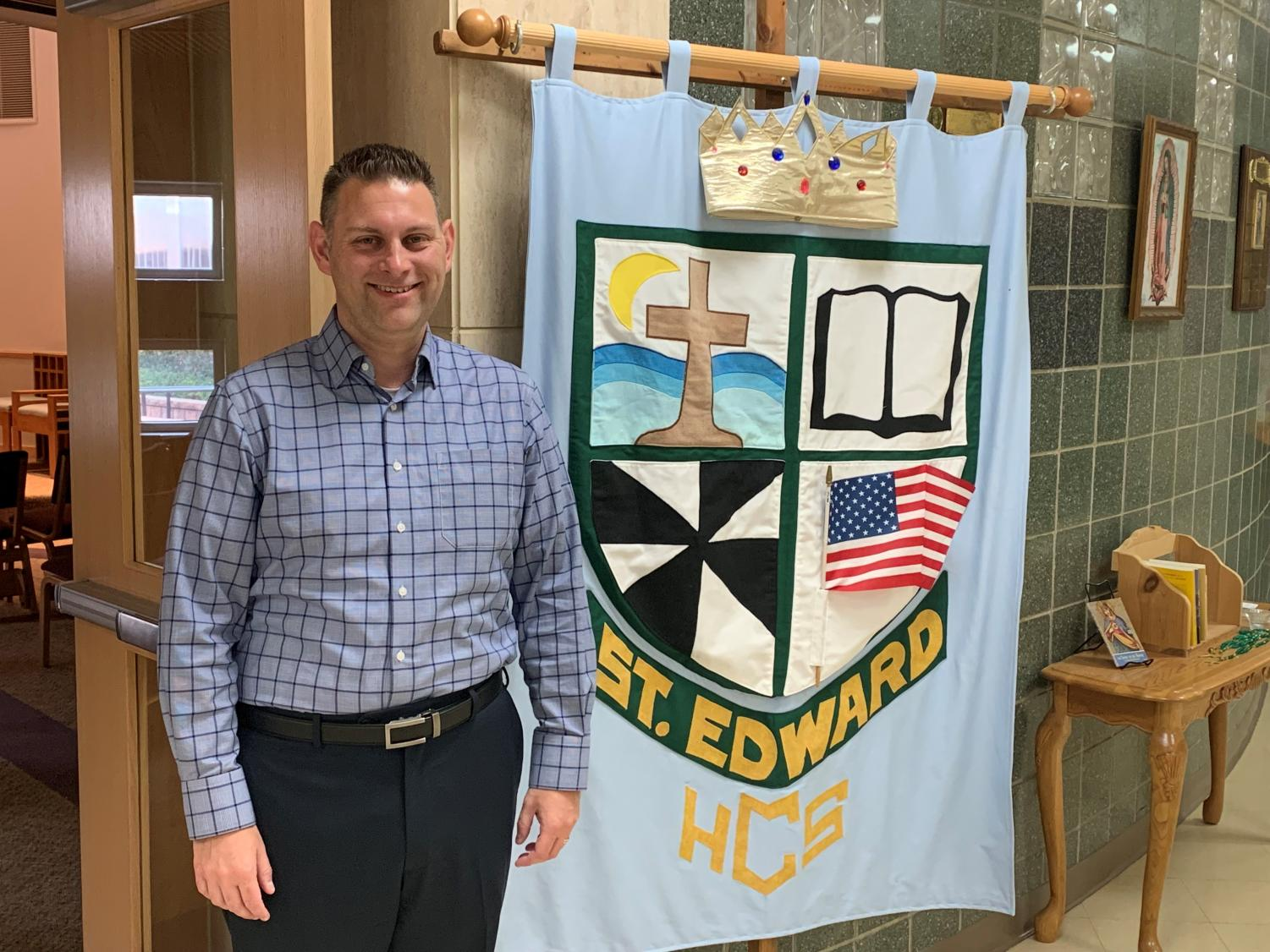 Mr. Tekampe is enjoying his first month as the new principal at St. Edward.