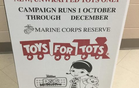 Toys for Tots box located by the main office.