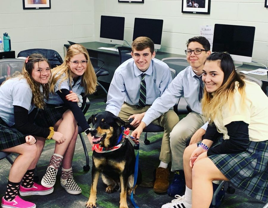 Students+are+all+smiles+as+they+visit+with+Bosco.