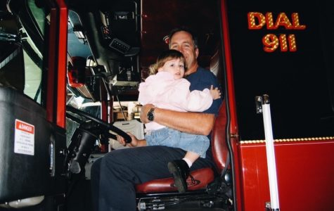 Taylor Hartman visiting her dad Mike Hartman at the Hoffman Estates Fire Department