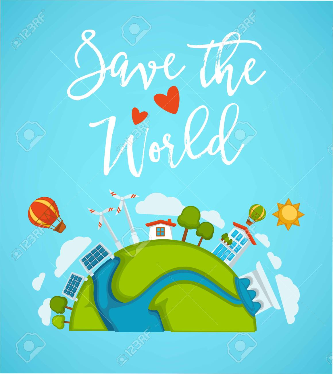 Save world planet or green earth and eco planet concept poster. Vector design of environment ecology and energy saving for earth conservation and nature protection