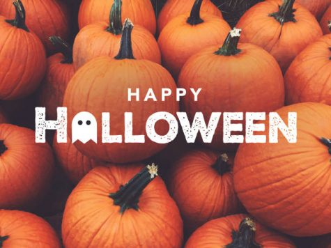 Happy Halloween Text With Fall Pumpkins Background